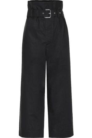 Plan C High-rise cotton wide-leg pants