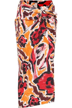 Marni Floral high-rise cotton skirt