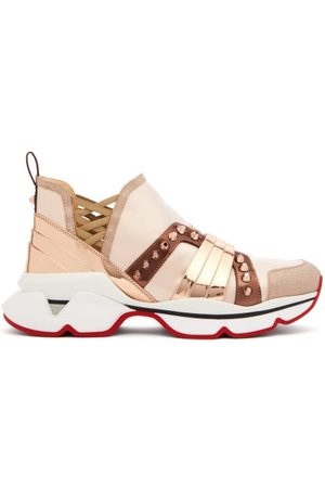 Christian Louboutin 123 Run Studded Satin Trainers - Womens - Nude