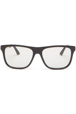 Gucci Logo-printed Square Acetate Sunglasses - Mens - Grey
