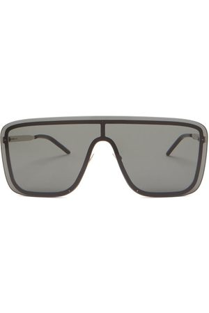 Saint Laurent Logo-engraved Shield Metal Sunglasses - Mens - Grey