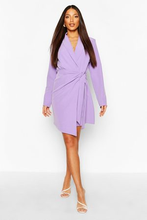 Boohoo Womens Tall Woven Ruched Side Tie Blazer Dress - - 6