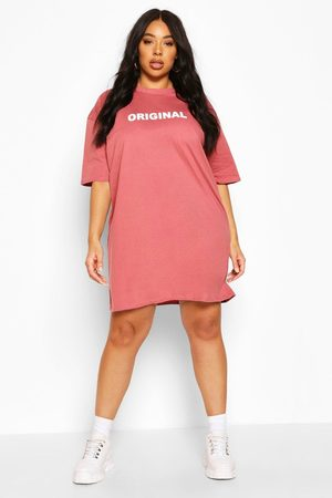 Boohoo Women Casual Dresses - Womens Plus Original Oversized T-Shirt Dress - - 12
