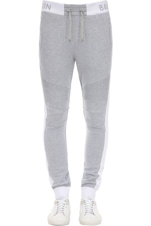 Balmain Logo Rib Cotton Jersey Sweatpants