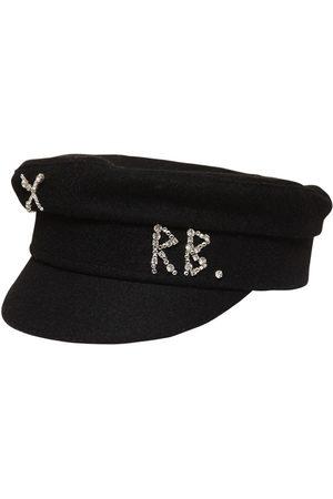 Ruslan Baginskiy Wool Baker Boy Hat W/ Crystals