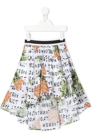 MONNALISA Girls Printed Skirts - Pineapple print ruffle midi skirt
