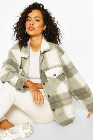 Boohoo Womens Wool Look Tonal Flannel Trucker - - S