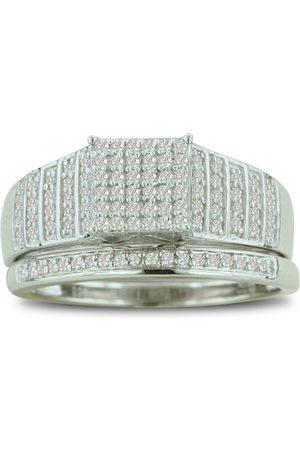 SuperJeweler 1/3 Carat Big Looking Princess Cut Shaped Center Engagement Ring Diamond Bridal Ring Set in Sterling