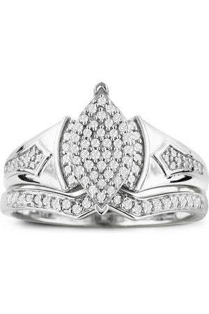 SuperJeweler 1/3 Carat Big Looking Marquise Shaped Center Diamond Bridal Engagement Ring Set in Sterling