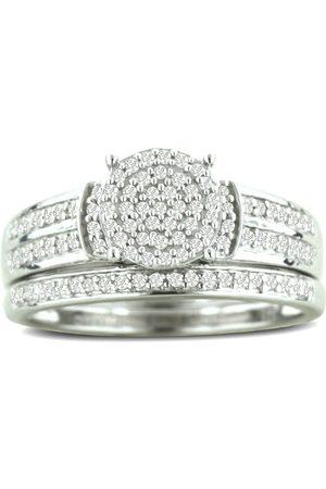 SuperJeweler 1/3 Carat Big Looking Round Center Diamond Bridal Ring Set in Sterling