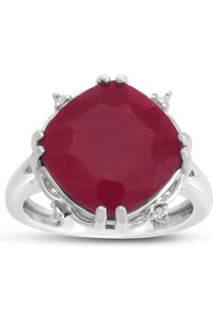 SuperJeweler 9 Carat Rotated Cushion Cut Ruby & Diamond Ring Crafted in Solid Sterling Silver
