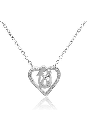 SuperJeweler Mother & Child Diamond Heart Necklace in Sterling