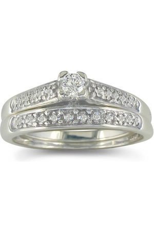 SuperJeweler Women Rings - Classic & Affordable 1/4 Carat Diamond Bridal Engagement Ring Set in Sterling