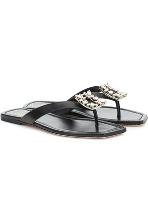 Roger Vivier Embellished leather thong sandals