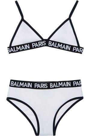 Balmain Logo Band Lycra Triangle Bikini