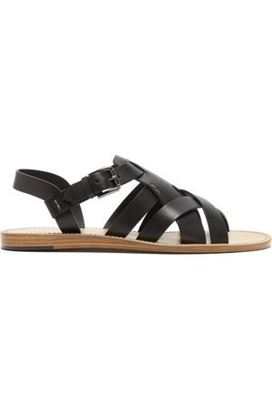 Dolce & Gabbana Men Sandals - Cross-strap Leather Sandals - Mens