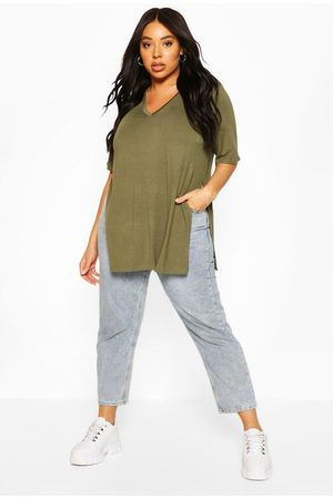 Boohoo Womens Plus V Neck Split Side Longline T-Shirt - - 12