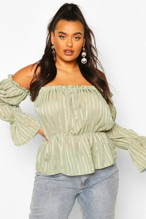 Boohoo Womens Plus Sheer Satin Striped Off The Shoulder Peplum Top - - 12