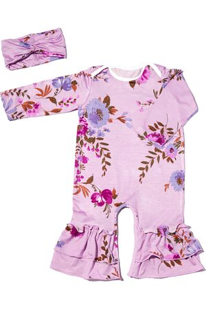 Everly Grey Infant Girl's Baby Grey Ruffle Jersey Romper & Head Wrap Set