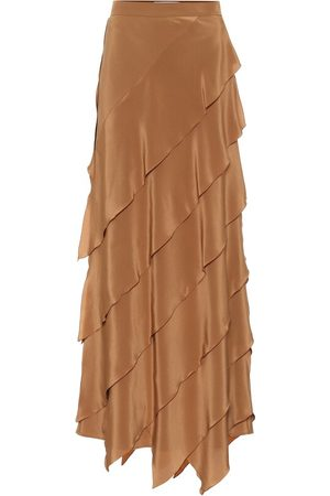Max Mara High-rise silk-satin skirt