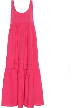 Solid Linen-blend maxi dress