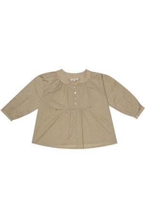 Caramel Victoria polka-dot cotton blouse