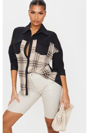 PRETTYLITTLETHING Check Contrast Oversized Shirt