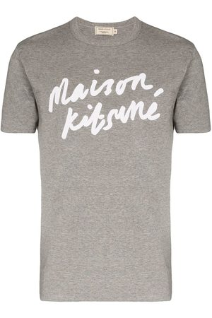Maison Kitsuné Logo-print cotton T-shirt - Grey