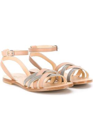 Brunello Cucinelli Girls Sandals - Caged open toe sandals - Neutrals