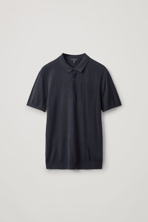 COS SILK-COTTON KNIT POLO SHIRT