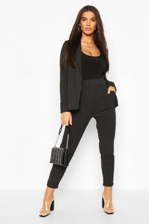 Boohoo Womens Pinstripe Tailored Blazer And Pants Two-Piece Suit - - 4