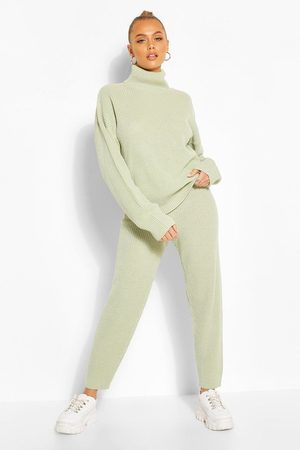 Boohoo Womens Turtle Neck Knitted Jogger Lounge Set - - S