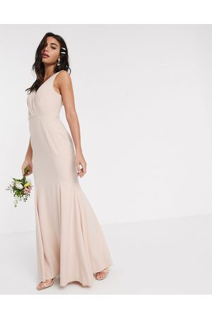 ASOS Bridesmaid button back maxi dress with pleated bodice detail