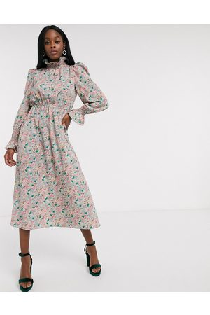 Never Fully Dressed Frill neck midaxi dress with puff sleeve detail in pink floral print-Multi