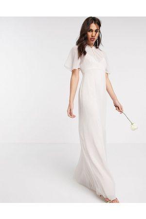 Maids to Measure Bridesmaid sheer cape maxi chiffon dress