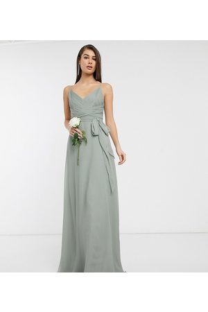 ASOS ASOS DESIGN Tall Bridesmaid cami maxi dress with ruched bodice and tie waist