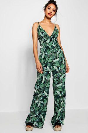 Boohoo Women Jumpsuits - Womens Petite Palm Print Wrap Front Jumpsuit - - 2