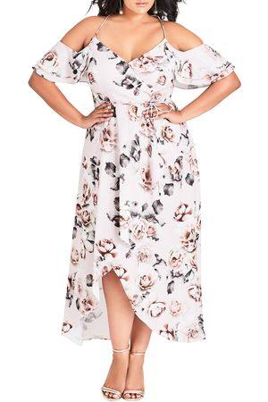City Chic Plus Size Women's Champagne Rose Cold Shoulder Maxi Dress