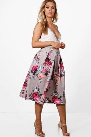 Boohoo Women Printed Skirts - Womens Plus Floral Print Scuba Midi Skirt - - 12