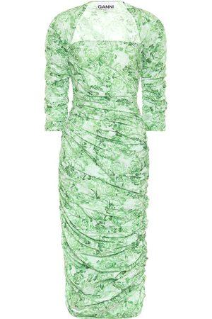 Ganni Floral cotton-poplin midi dress