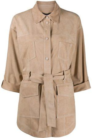 arma leder Tie-waist patch-pocket jacket - Neutrals