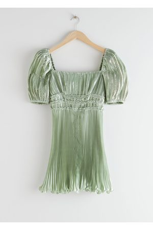 & OTHER STORIES Pleated Square Neck Mini Dress