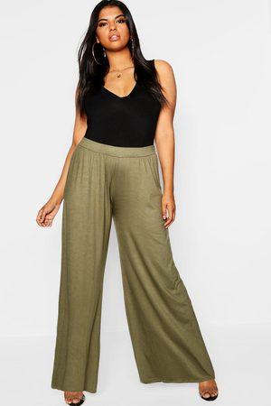 Boohoo Womens Plus Jersey Wide Leg Pants - - 12