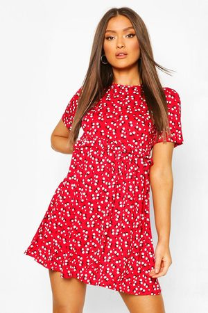 Boohoo Womens Ditsy Floral Smock Dress - - 10