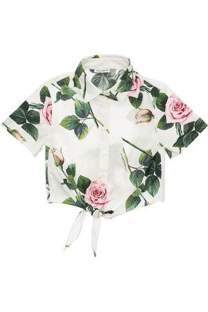 Dolce & Gabbana Girls Shirts - Rose Print Cotton Poplin Shirt W/ Bow