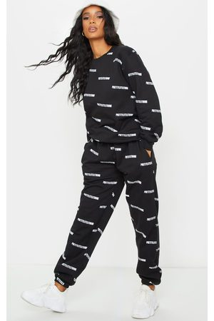 PRETTYLITTLETHING Women Sweatpants - Printed High Waisted Joggers