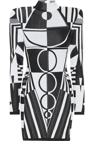 Balmain Geometric stretch-knit minidress