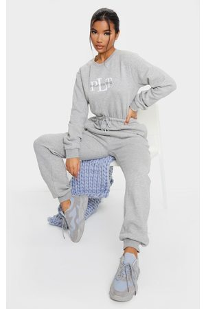 PRETTYLITTLETHING Grey Printed Sweat Jumpsuit