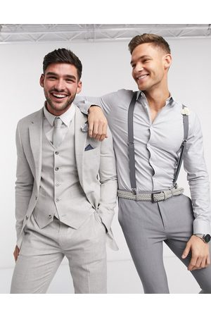 ASOS Wedding super skinny suit jacket in stretch cotton linen in check