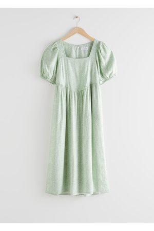 & OTHER STORIES Women Midi Dresses - Square Neck Puff Sleeve Midi Dress